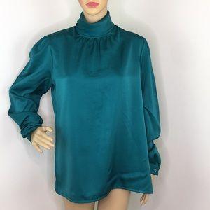 Vintage Emerald Green Long Sleeve Blouse